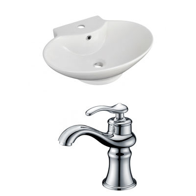 American Imaginations 22.75-in. W Above Counter White Vessel Set For 1 Hole Center Faucet - Faucet Included