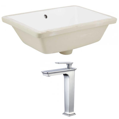 18.25-in. W Rectangle Undermount Sink Set In White- Chrome Hardware With Deck Mount CUPC Faucet