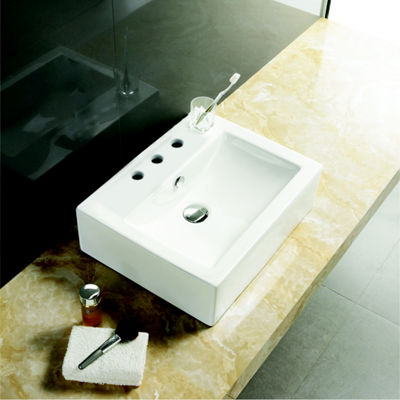 20.25-in. W Above Counter White Vessel Set For 3H8-in. Center Faucet - Faucet Included