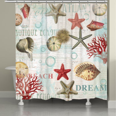Laural Home Dream Beach Shells Shower Curtain