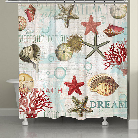 Laural Home Dream Beach Shells Shower Curtain