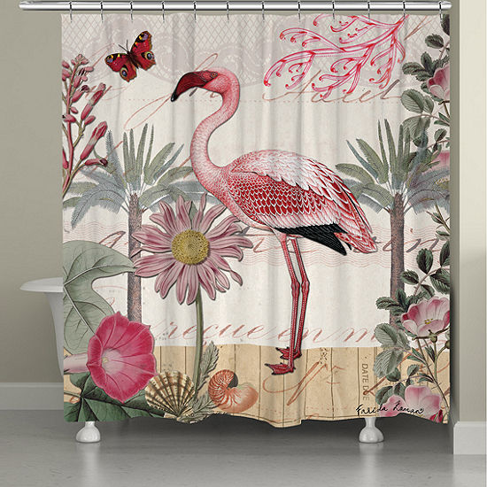 Laural Home Botanical Flamingo Shower Curtain