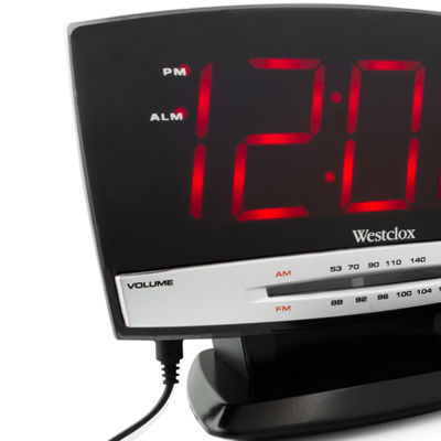 Westclox Large LED Display Alarm Clock with Aux and Radio