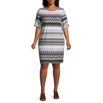 R & K Originals Elbow Sleeve Pattern Shift Dress - Plus