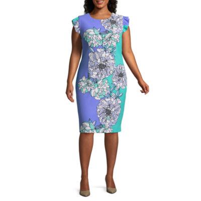 R & K Originals Sleeveless Floral Shift Dress - Plus