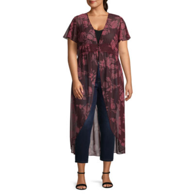 Arizona Short Sleeve Floral Kimono-Juniors Plus