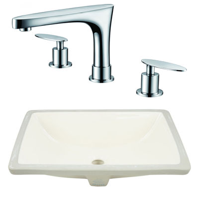 20.75-in. W CSA Rectangle Undermount Sink Set In Biscuit - Chrome Hardware With 3H8-in. CUPC Faucet
