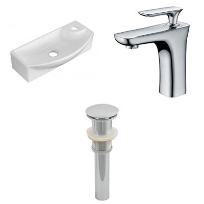 17.75-in. W Wall Mount White Vessel Set For 1 Hole Right Faucet - Faucet Included