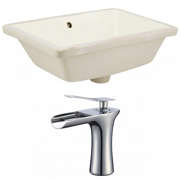 18.25-in. W Rectangle Undermount Sink Set In Biscuit - Chrome Hardware With 1 Hole CUPC Faucet