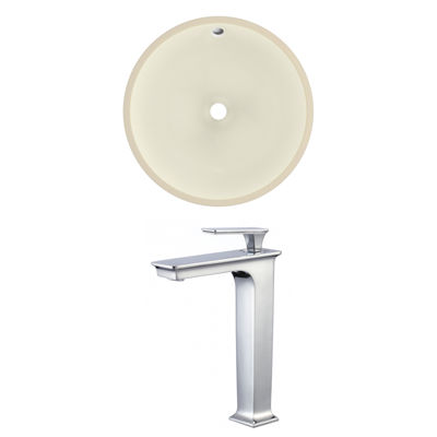 16-in. W Round Undermount Sink Set In Biscuit - Chrome Hardware With Deck Mount CUPC Faucet