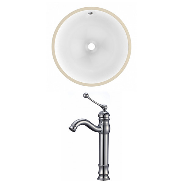 16.5-in. W Round Undermount Sink Set In White - Chrome Hardware With Deck Mount CUPC Faucet