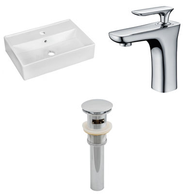 19.75-in. W Above Counter White Vessel Set For 1 Hole Center Faucet - Faucet Included