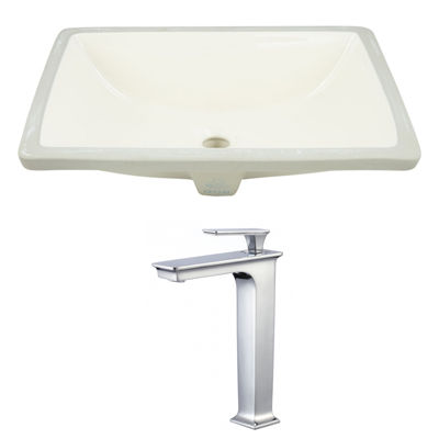 20.75-in. W Rectangle Undermount Sink Set In Biscuit - Chrome Hardware With Deck Mount CUPC Faucet