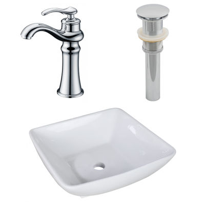 16.5-in. W Above Counter White Vessel Set For Deck Mount Drilling - Faucet Included