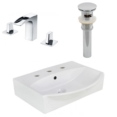 19.5-in. W Wall Mount White Vessel Set For 3H8-in.Center Faucet - Faucet Included