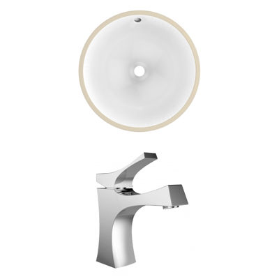 16.5-in. W Round Undermount Sink Set In White - Chrome Hardware With 1 Hole CUPC Faucet