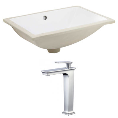 18.25-in. W CUPC Rectangle Undermount Sink Set In White - Chrome Hardware With Deck Mount CUPC Faucet