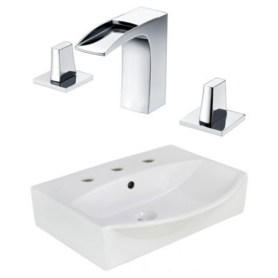 19.5-in. W Wall Mount White Vessel Set For 3H8-in. Center Faucet - Faucet Included