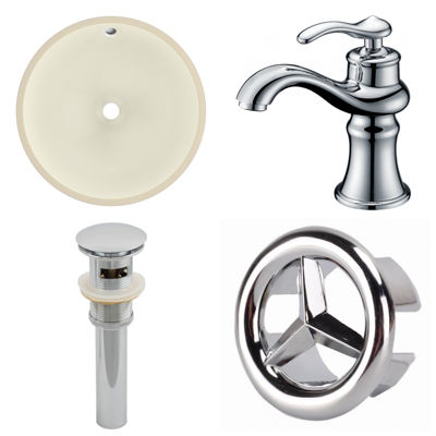 15.5-in. W CUPC Round Undermount Sink Set In Biscuit - Chrome Hardware With 1 Hole CUPC Faucet - Overflow Drain Included
