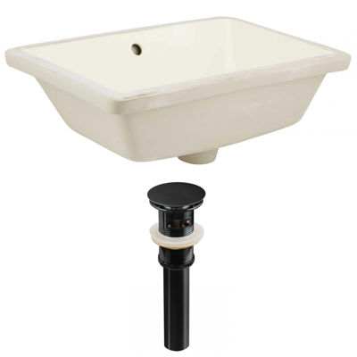 18.25-in. W Rectangle Undermount Sink Set In Biscuit - Overflow Drain Included