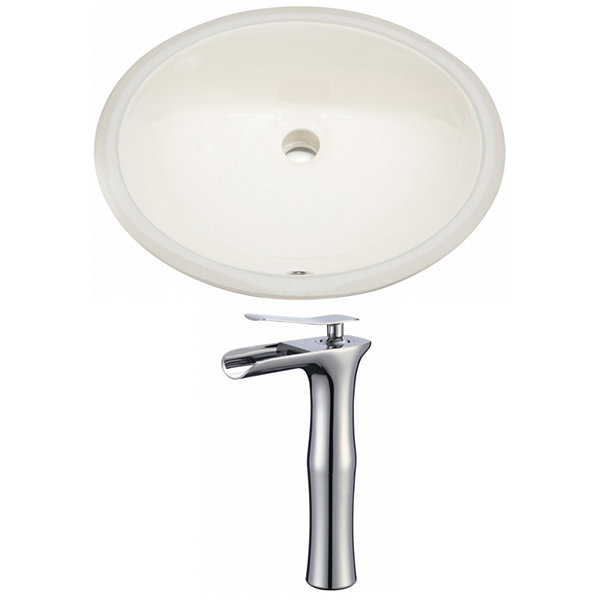 19.75-in. W Oval Undermount Sink Set In Biscuit -Chrome Hardware With Deck Mount CUPC Faucet