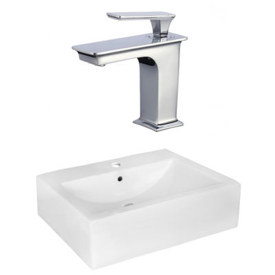 20.25-in. W Wall Mount White Vessel Set For 1 HoleCenter Faucet - Faucet Included