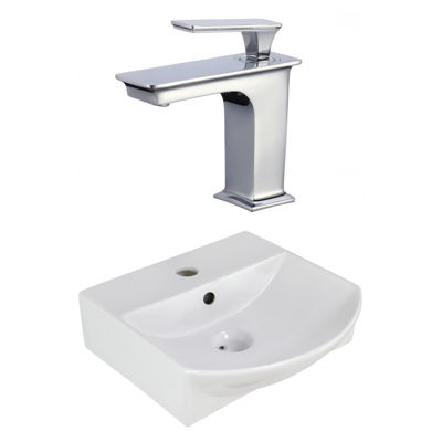 13.75-in. W Wall Mount White Vessel Set For 1 HoleCenter Faucet - Faucet Included