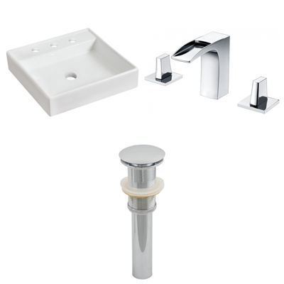 17.5-in. W Above Counter White Vessel Set For 3H8-in. Center Faucet - Faucet Included