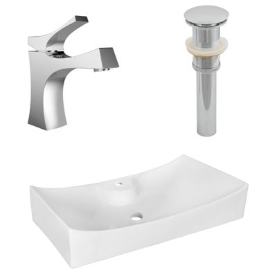 American Imaginations 26.25-in. W Above Counter White Vessel Set For 1 Hole Center Faucet - Faucet Included