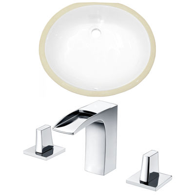 19.5-in. W CUPC Oval Undermount Sink Set In White- Chrome Hardware With 3H8-in. CUPC Faucet