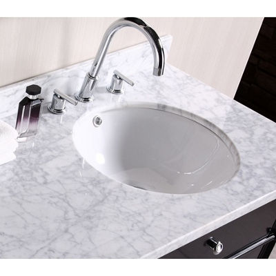 15.25-in. W Round Undermount Sink Set In White - Chrome Hardware With Deck Mount CUPC Faucet