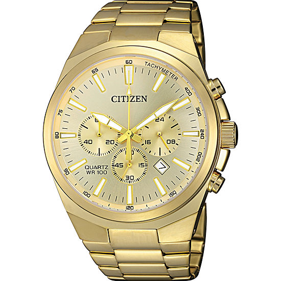 Citizen Quartz Mens Gold Tone Stainless Steel Bracelet Watch-An8172-53p