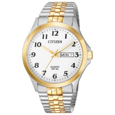 Citizen Quartz Mens Two Tone Bracelet Watch-Bf5004-93a