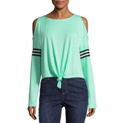Inspired Hearts Long Sleeve Round Neck T-Shirt-Womens Juniors