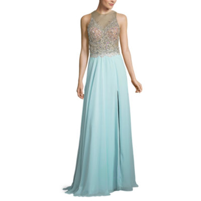 Glamour By Terani Couture Sleeveless Beaded Evening Gown-Juniors
