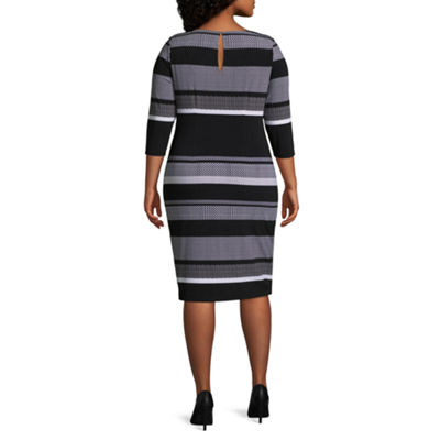 Melrose 3/4 Sleeve Stripe Shift Dress - Plus