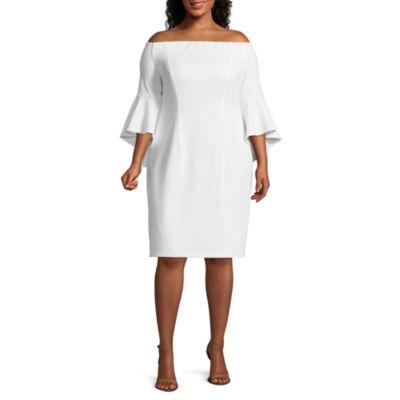 Premier Amour 3/4 Sleeve Sheath Dress - Plus