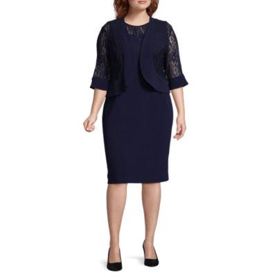 Maya Brooke 3/4 Lace Sleeve Jacket Dress - Plus