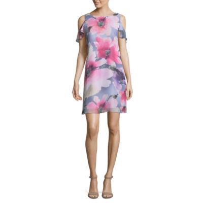 Ronni Nicole Short Sleeve Floral Shift Dress-Petite