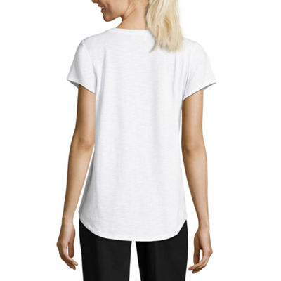 Liz Claiborne Short Sleeve Embroidered T-Shirt- Tall