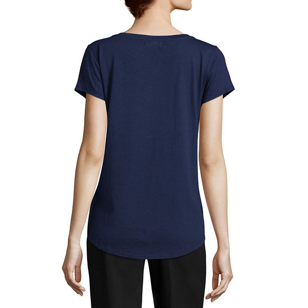 Liz Claiborne Short Sleeve Embroidered Tee - Tall