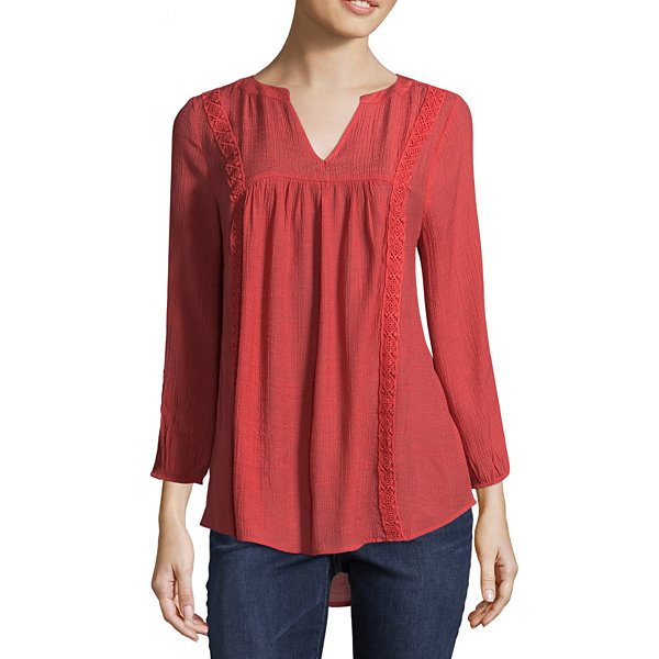 St. John's Bay Lace Inset Blouse - Tall