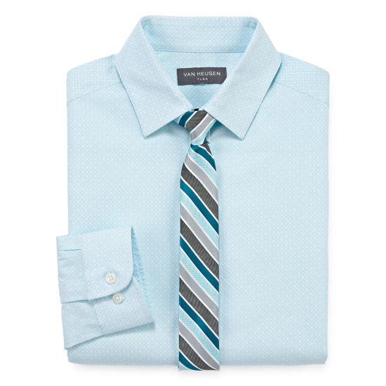 Van Heusen Long Sleeve Flex Shirt + Tie Set - Boys 4-20 Regular