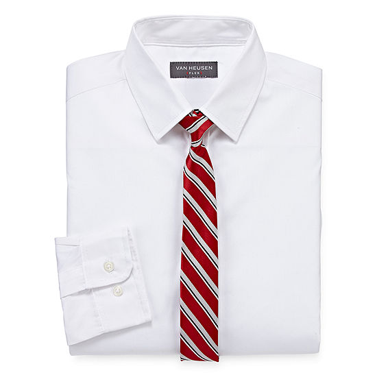 Van Heusen Flex Long Sleeve Shirt Tie Set 4 20 Boys Regular Husky