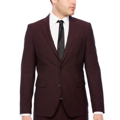 JF J.Ferrar Merlot Pulse Slim Fit Stretch Suit Jacket