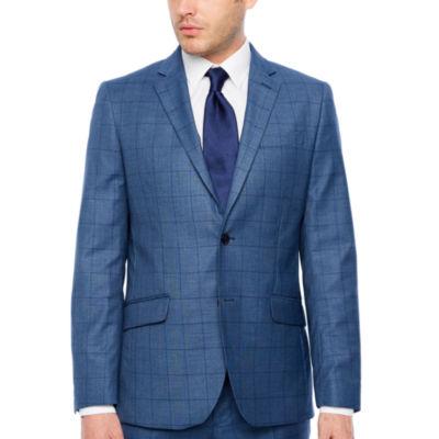 JF J.Ferrar Blue Stretch Windowpane Checked Slim Fit Stretch Suit Jacket