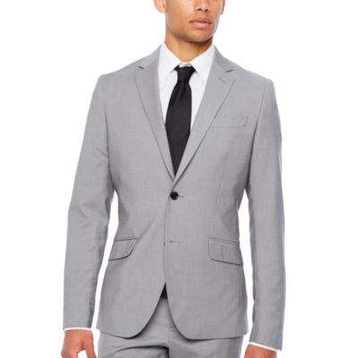 JF J.Ferrar Gray Stretch Crosshatch Slim Fit Stretch Suit Jacket