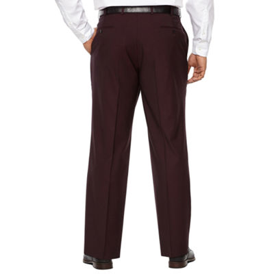 JF J.Ferrar Merlot Stretch Pulse Suit Pant Stretch Classic Fit Suit Pants - Big and Tall