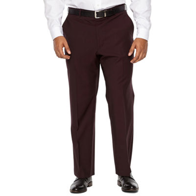 JF J.Ferrar Merlot Stretch Pulse Suit Pant Classic Fit Stretch Suit Pants - Big and Tall