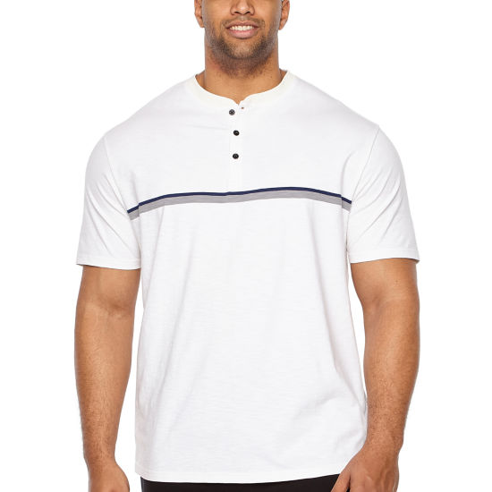 Claiborne Short Sleeve Henley Shirt-Big and Tall